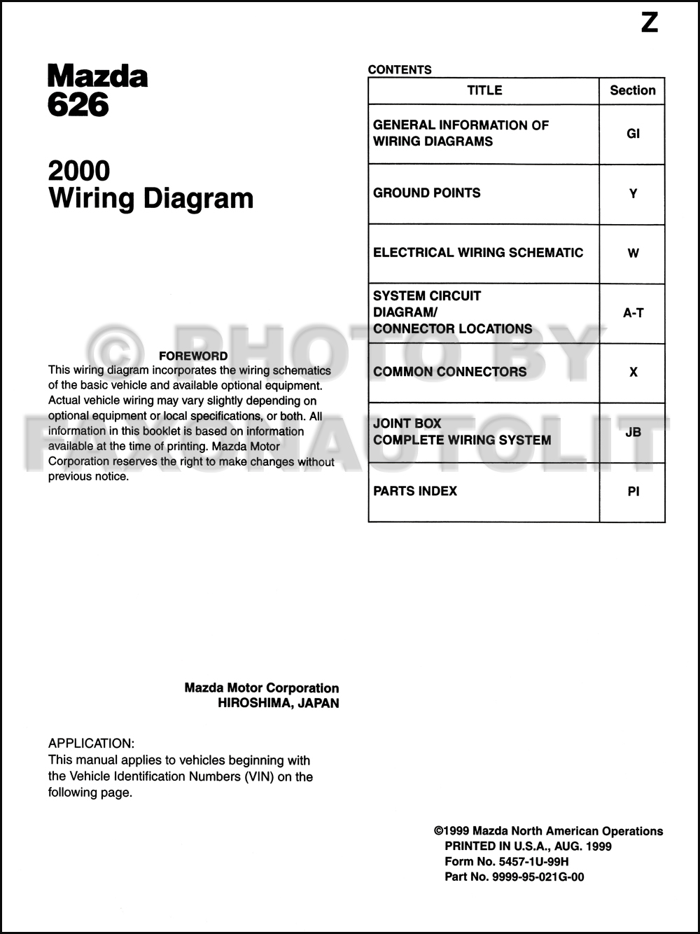 2000 Mazda 626 Wiring Diagram Manual Original. click on thumbnail to zoom