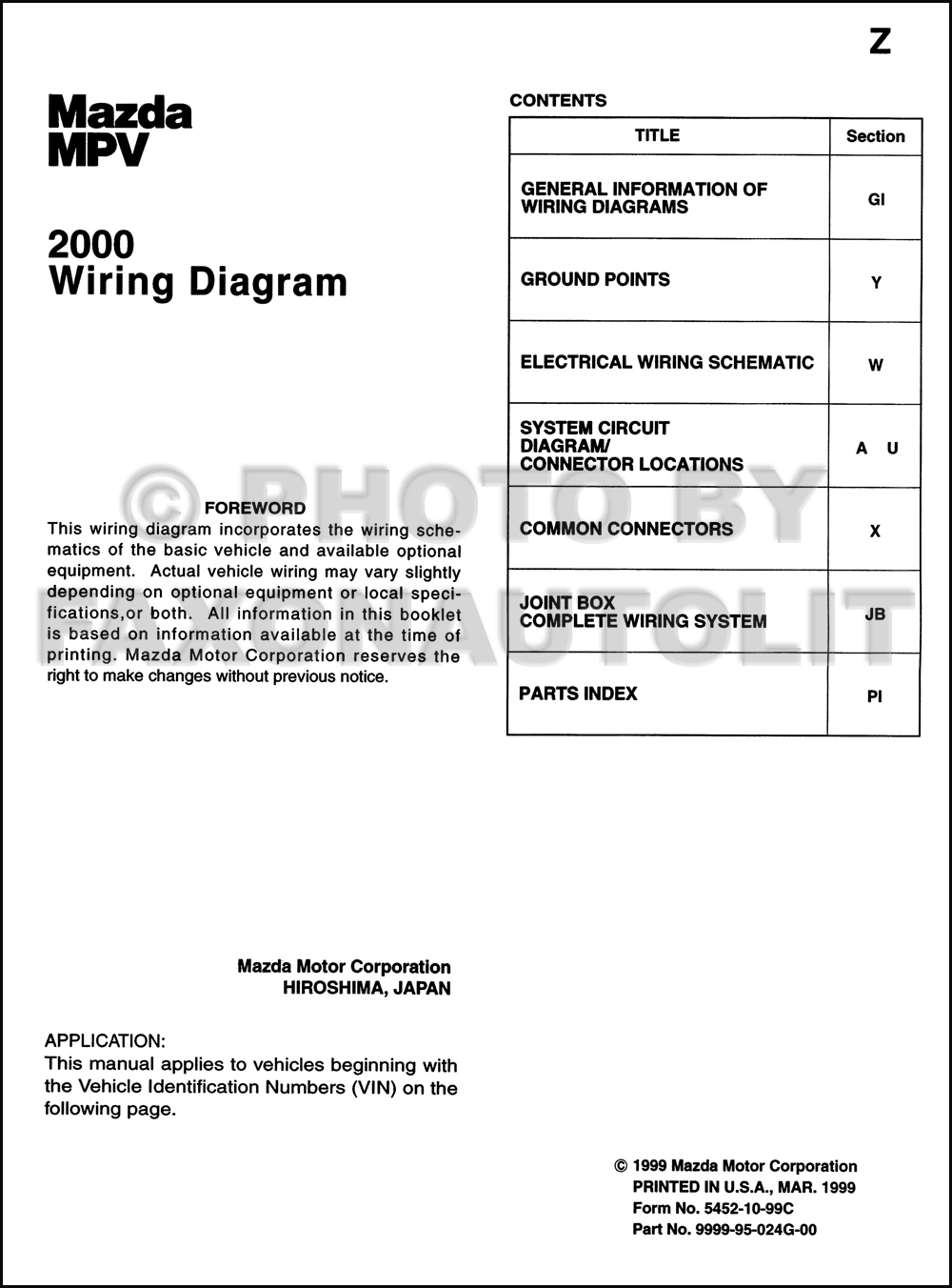 2000 Mazda Mpv Wiring Diagram List Of Schematic Circuit Engine Manual Original Rh Faxonautoliterature Com