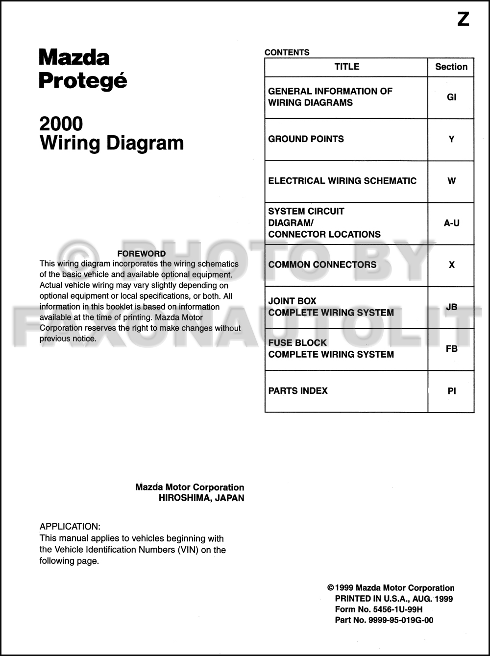 2000 Mazda Protege Wiring Diagram Manual Original. click on thumbnail to  zoom