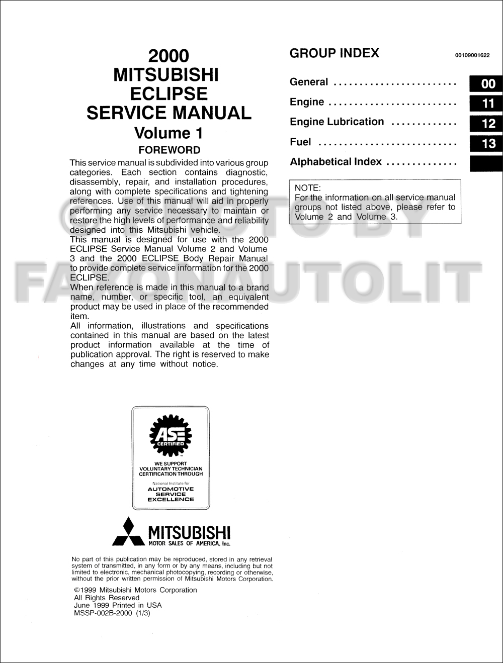 2000 Mitsubishi Montero Sport Repair Manual Set Original · Table of  Contents Page 1
