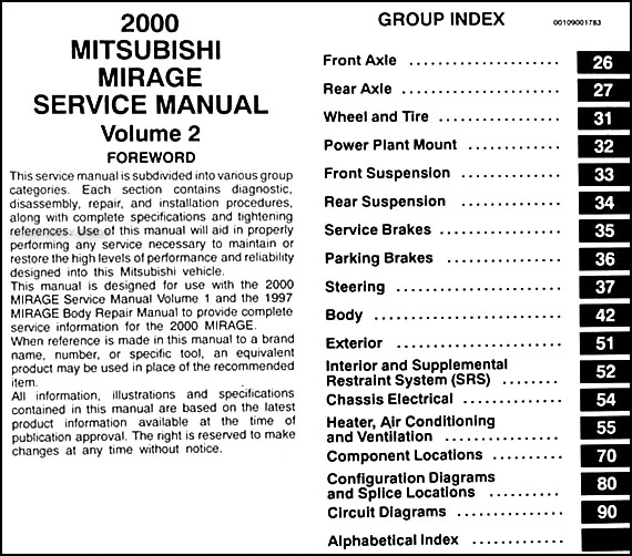 mitsubishi mirage 1995 2003 workshop repair service manual