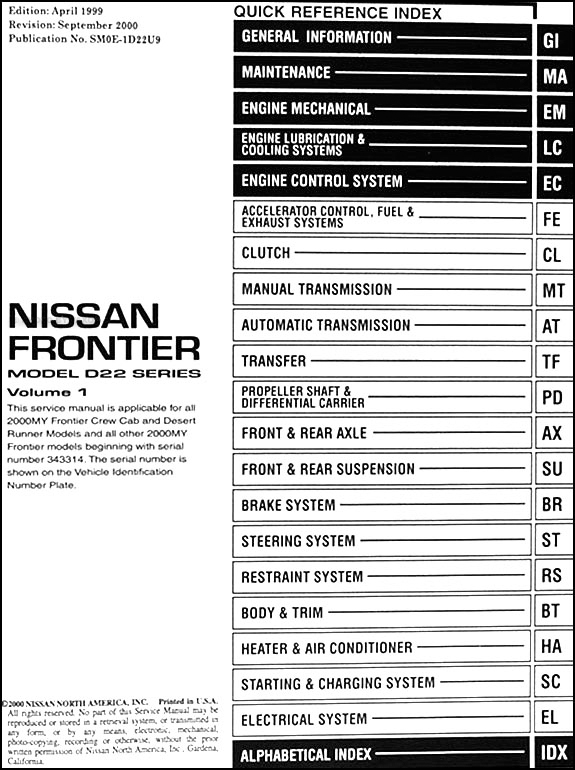 2000 nissan frontier pickup repair shop manual set original. Black Bedroom Furniture Sets. Home Design Ideas