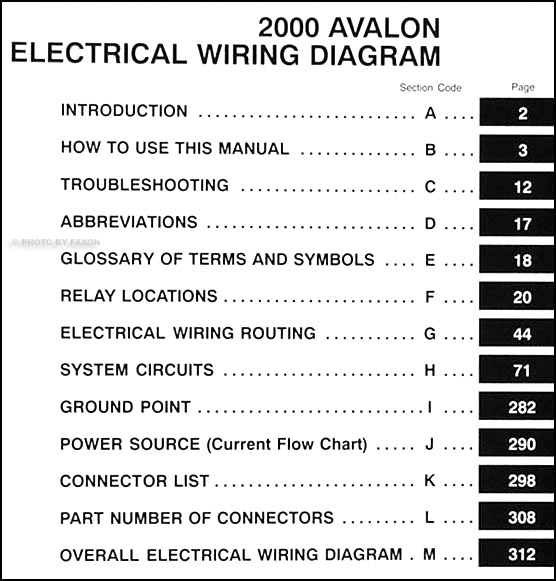 2000 Toyota Avalon Wiring Diagram Manual Original