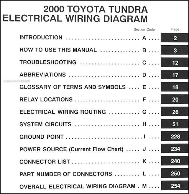 2000 toyota tundra wiring diagram manual original � table of contents