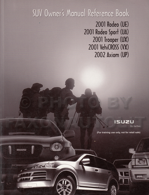 Isuzu SUV Owner's Manual Original Reference Book 2001 VehiCROSS Rodeo Trooper 2002 Axiom