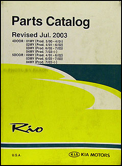 2001-2004 Kia Rio Parts Book Original