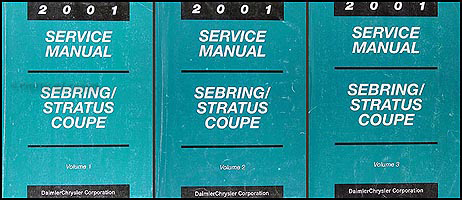2001 Sebring & Stratus Coupe Shop Manual Original 3 Volume Set