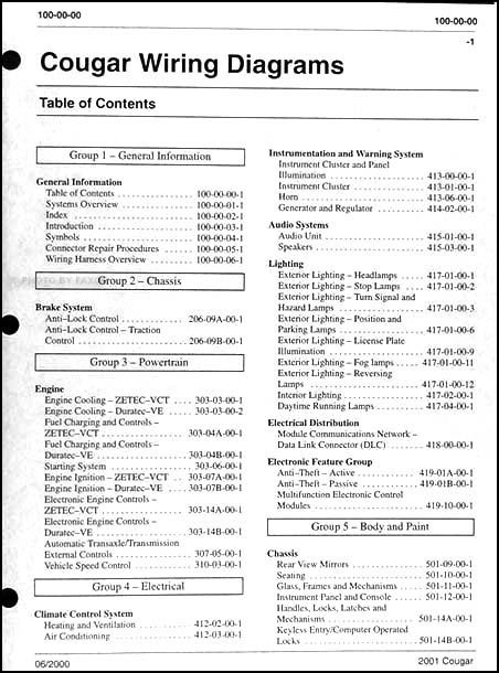 2001 cougar fuse diagram 2001 mercury cougar wiring diagram manual original  2001 mercury cougar wiring diagram