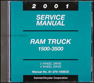 2001 Dodge Ram Truck CD-ROM Shop Manual Original 1500-3500