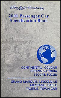 2001 Ford Lincoln Mercury Service Specifications Book Original