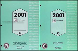 2001 Buick Park Avenue Repair Manual Original 2 Volume Set