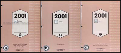 2001 Olds Aurora Repair Shop Manual Original 3 Volume Set