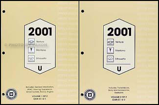 2001 Venture/Montana/Silhouette Repair Manual Original 2 Volume Set
