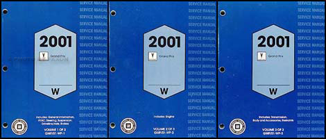 2001 Pontiac Grand Prix Repair Manual Original 3 Volume Set