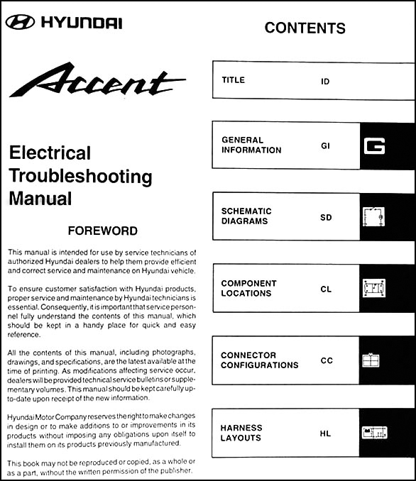 2001 hyundai accent electrical troubleshooting manual original