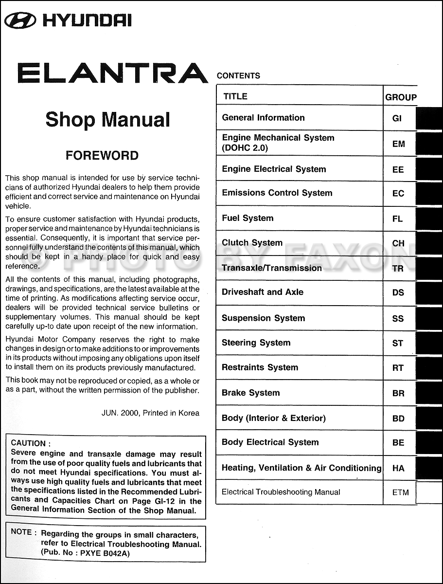 2001 Hyundai Elantra Shop Manual Original · Table of Contents