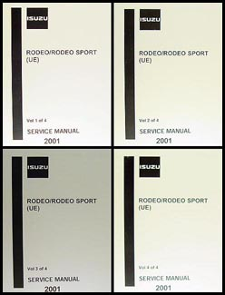 2001 Isuzu Rodeo/Rodeo Sport Repair Manual 4 Volume Set Original