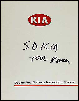 2001 Kia Inspection Manual Original