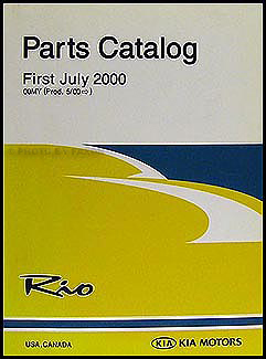 2001 Kia Rio Parts Book Original
