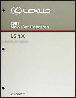 2001 Lexus LS 430 Features Manual Original