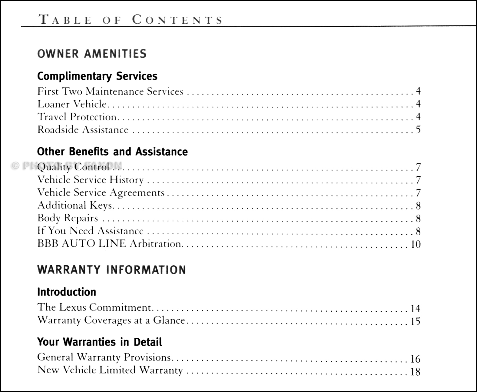 2001 Lexus Owners Manual Supplement Original · Table of Contents Page 1 ·  Table of Contents Page 2 · Table of Contents