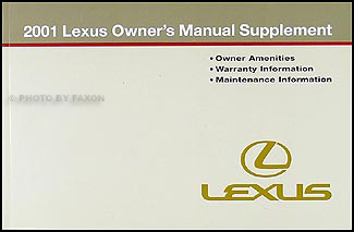 2001 Lexus Owners Manual Supplement Original