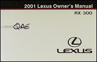 2001 Lexus RX 300 Owners Manual Original