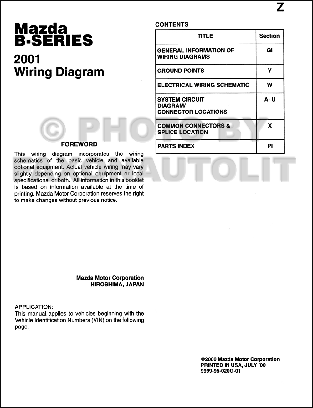 2001 Mazda B-Series Pickup Truck Wiring Diagram Manual Original B2300-B4000.  click on thumbnail to zoom