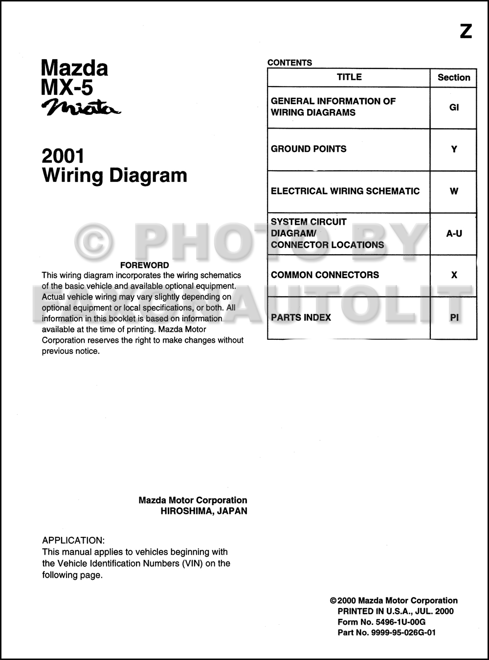 2001 Mazda MX-5 Miata Wiring Diagram Manual Original. click on thumbnail to  zoom