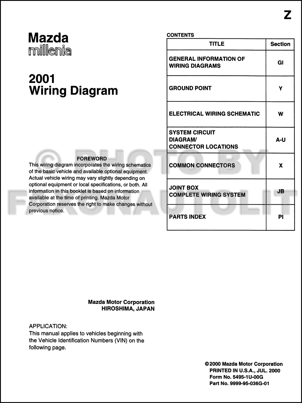 2001 Mazda Millenia Wiring Diagram Manual Original. click on thumbnail to  zoom