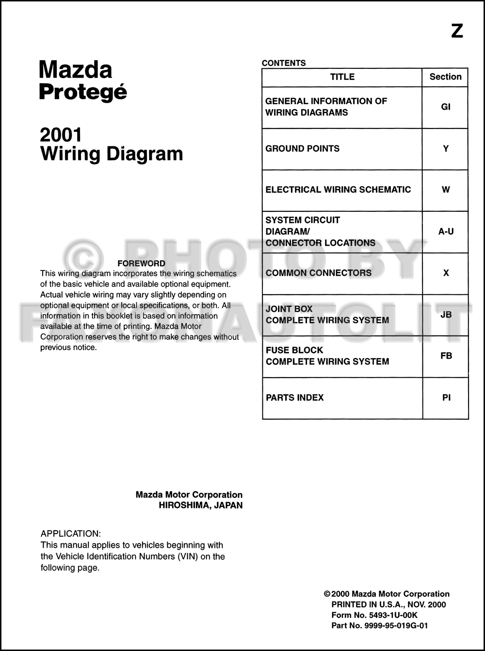 2001 Mazda Protege Wiring Diagram Manual Original 2000 Mpv Click On Thumbnail To Zoom