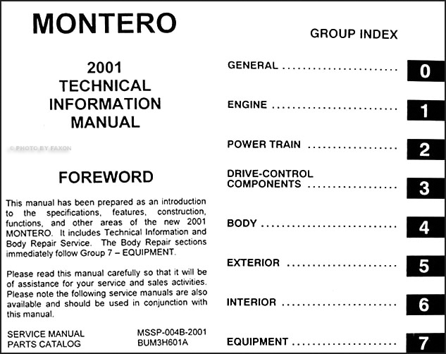 2001 Mitsubishi Montero Body Manual Original