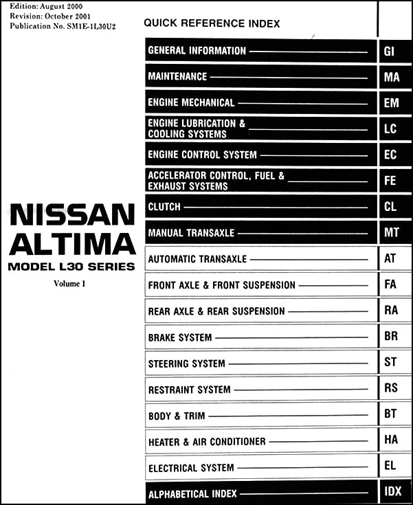2012 altima stereo wiring diagram wiring diagram 2011 Nissan Maxima Parts 2001 nissan altima wiring schematic wiring diagram blog2001 nissan altima repair shop manual set original 1998