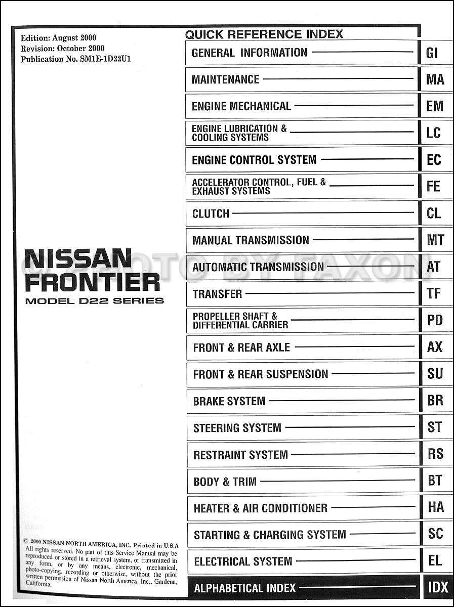 2000 Nissan Frontier Pickup Repair Manual Set Original · Table of Contents