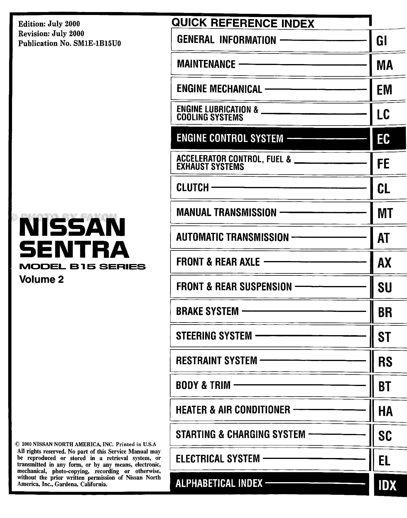 2001 Nissan Sentra CD-ROM Repair Manual · Table of Contents