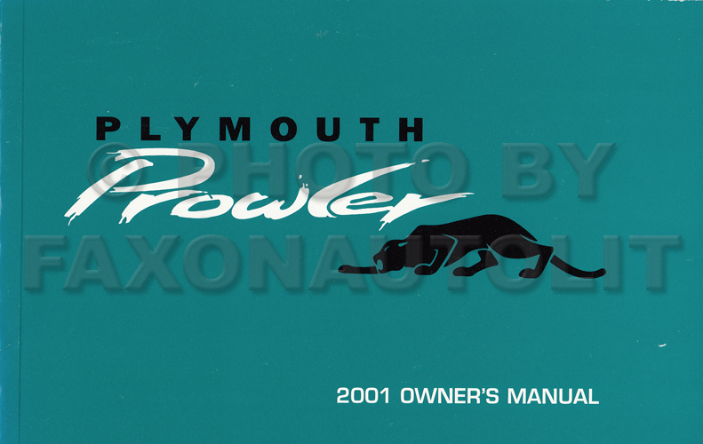 2001 Plymouth Prowler Owner's Manual Original