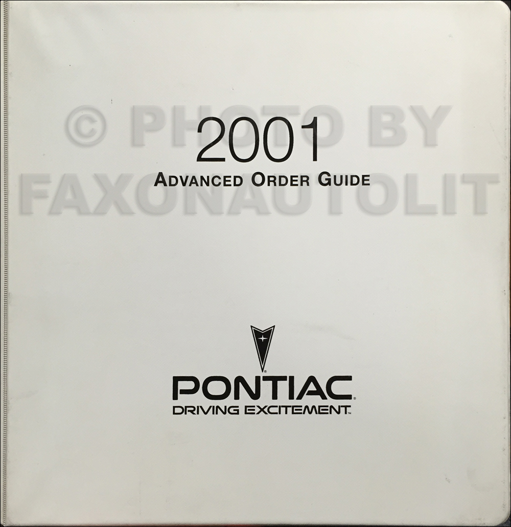 2001 Pontiac Advance Ordering Guide Original Dealer Album