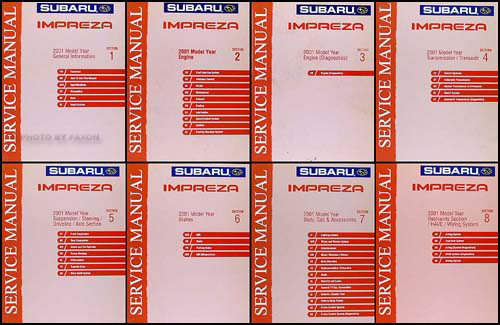 2001 Subaru Impreza Repair Manual 8 Volume Set Original
