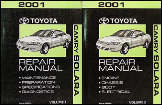 2001 Toyota Camry Solara Repair Manual Original Set