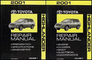 2001 Toyota Highlander Repair Manual Original Set