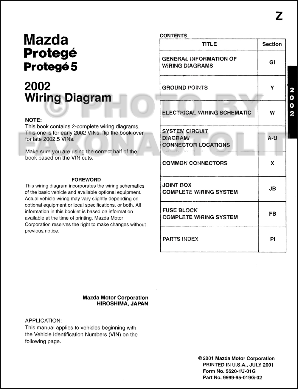 2002 20025 Mazda Protege Wiring Diagram Manual Original Fuse Table Of Contents