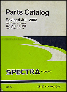2002-2004 Kia Spectra 4-door Parts Book Original