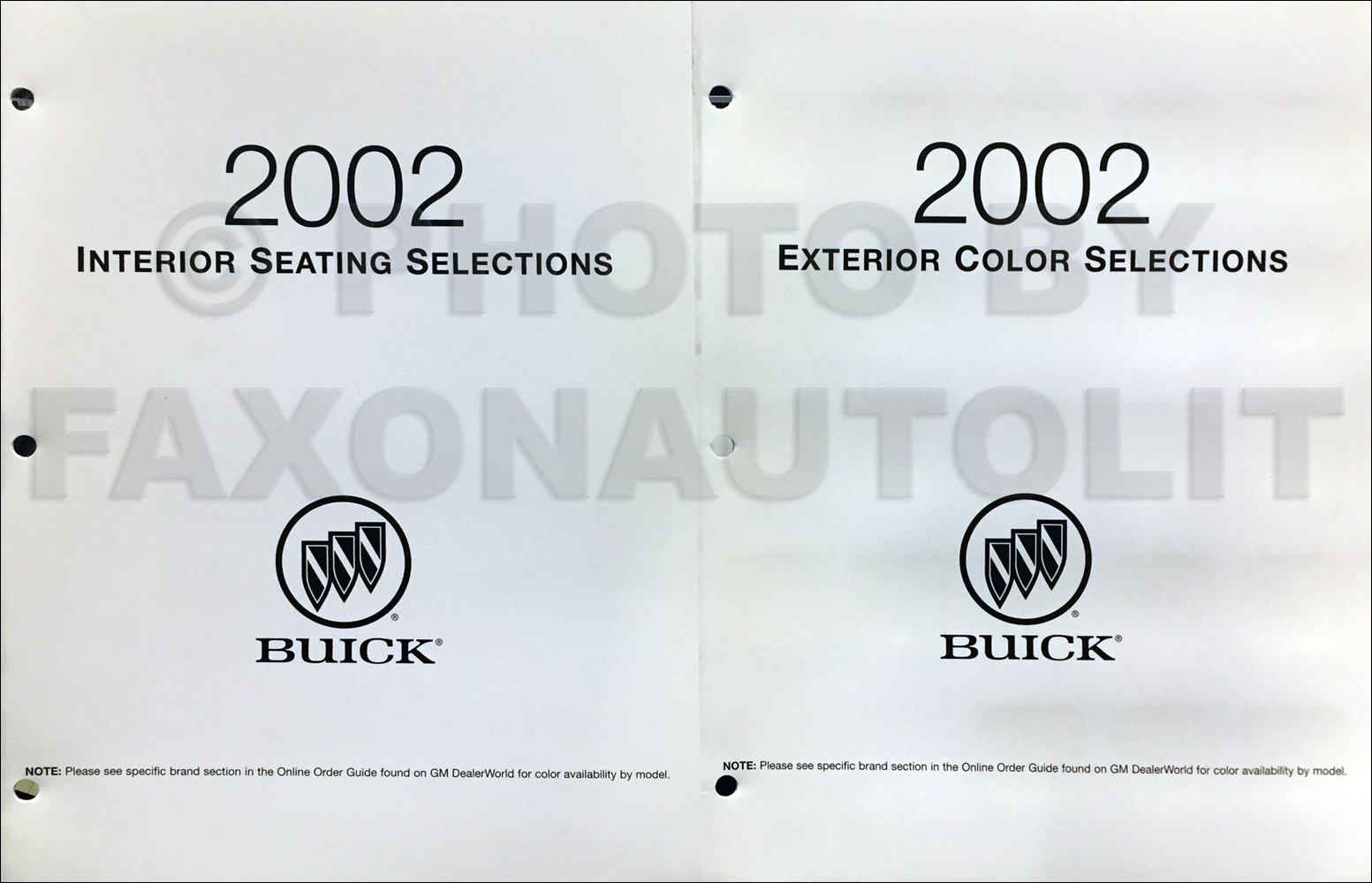 2002 Buick Color & Upholstery Folder Set Original