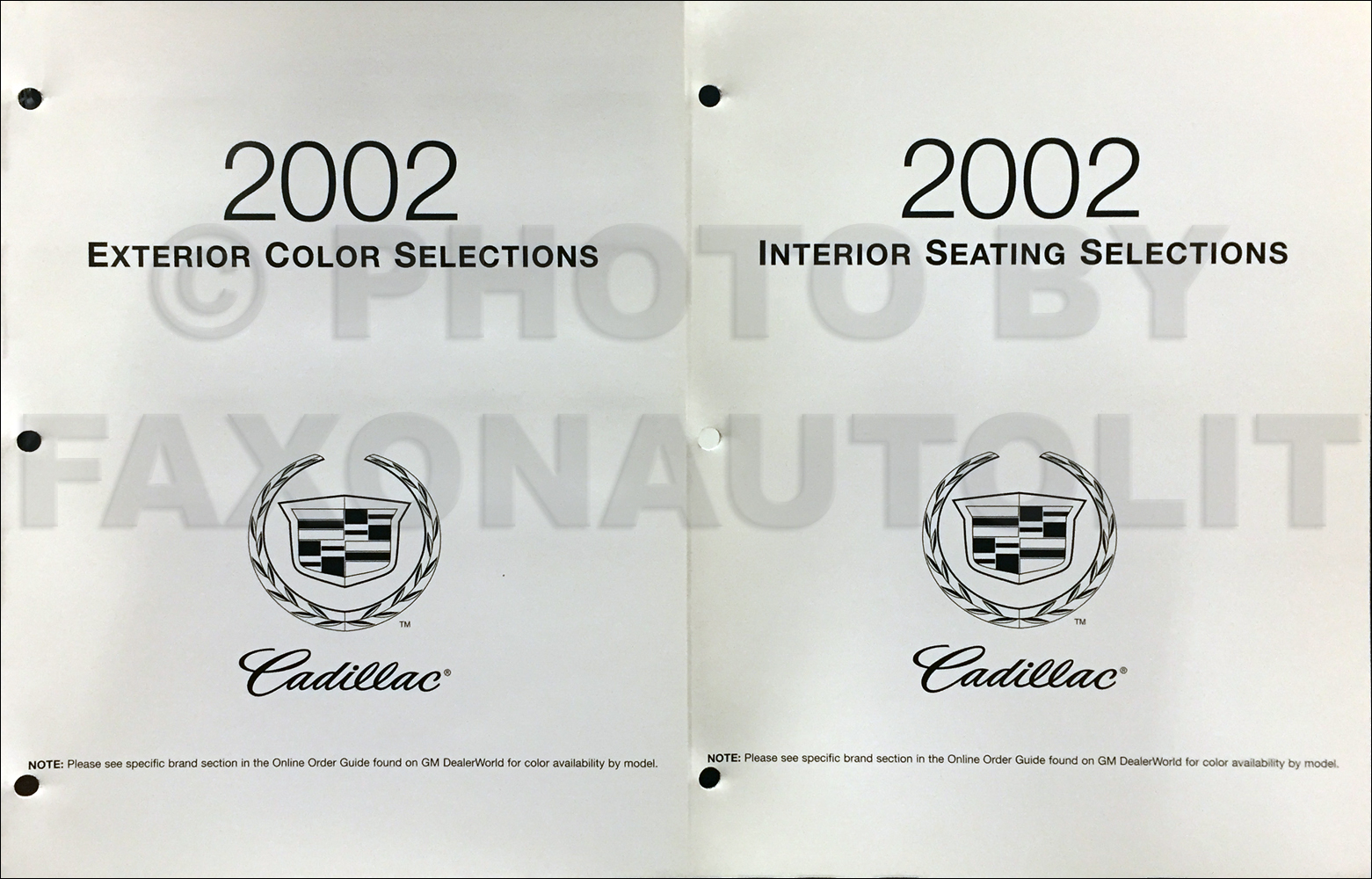 2002 Cadillac Color & Upholstery Folder Set Original
