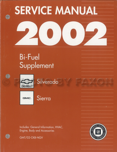 2002 CK8 Bi-Fuel Repair Shop Manual Original Supplement Chevy Silverado GMC Sierra 2500 CNG