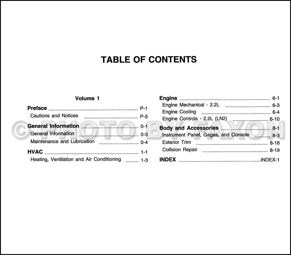 2002 Chevy Cavalier Bi-Fuel Repair Shop Manual Original Supplement. Table  of Contents Page