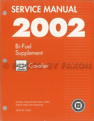 2002 Chevy Cavalier Bi-Fuel Repair Shop Manual Original Supplement