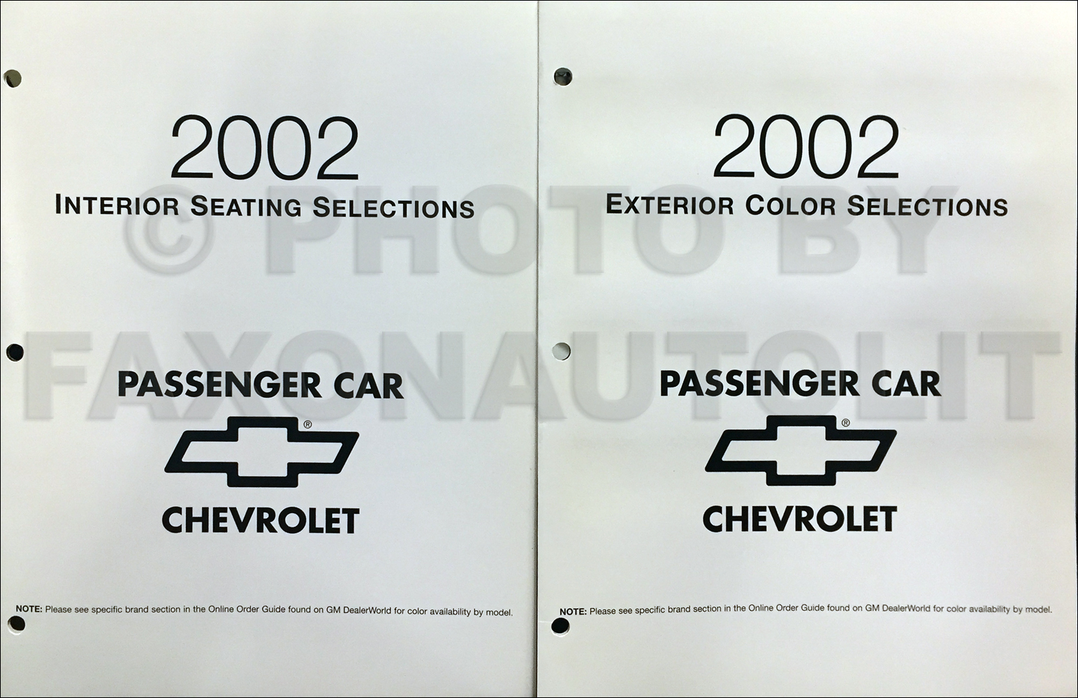 2002 Chevrolet Car Color & Upholstery Folder Set Original