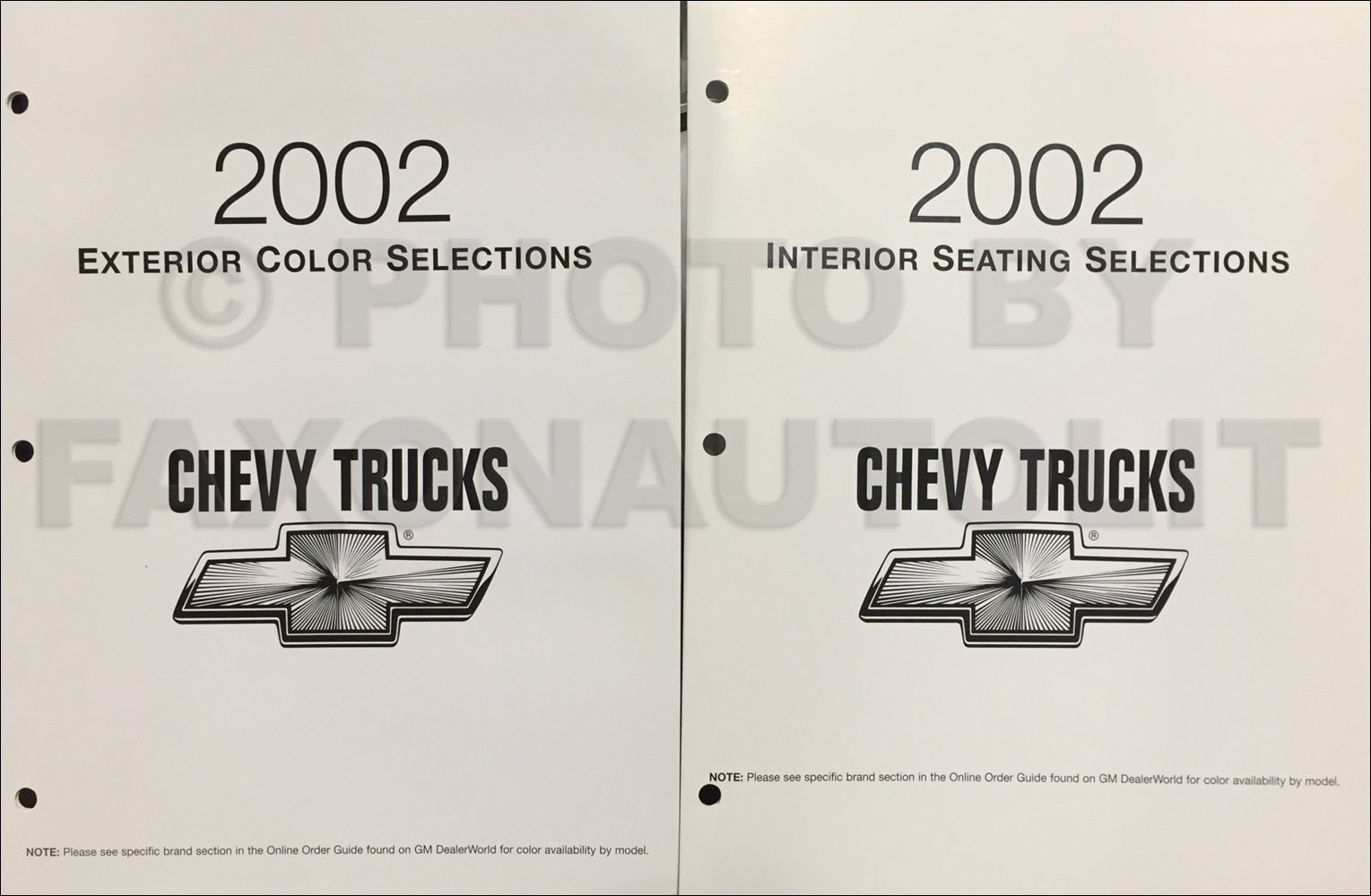 2002 Chevrolet Trucks Color & Upholstery Folder Set Original