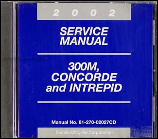 2002 Concorde, Intrepid, & 300M CD-ROM Shop Manual Original